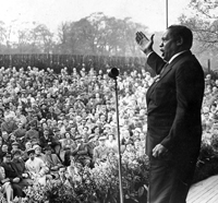 Paul Robeson sings on stage for May Day Rally, Queen's Park,  Gl